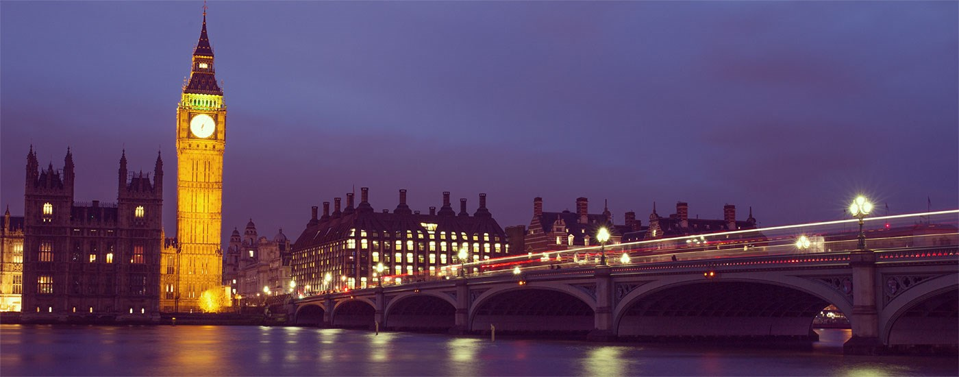 A shot of London in the evening, looking across Westminster Bridge up to Big Ben.