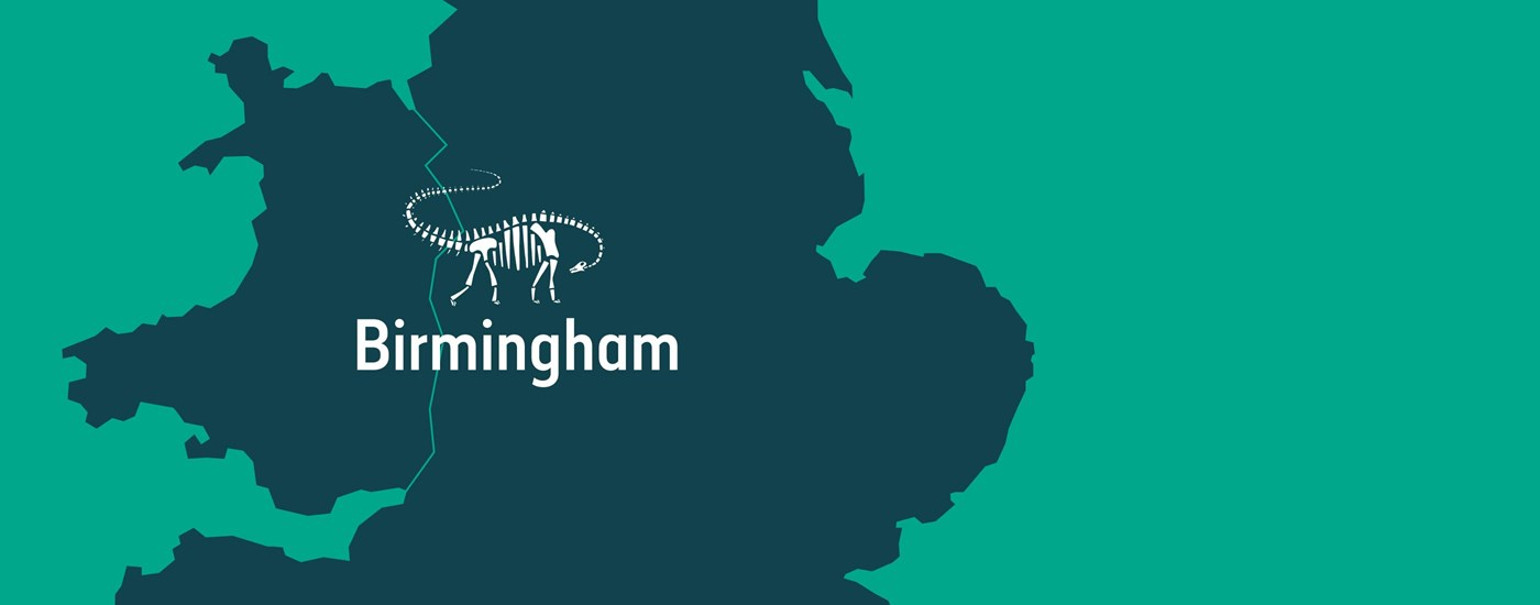 A map showing where Dippy is off to next on his journey - Birmingham